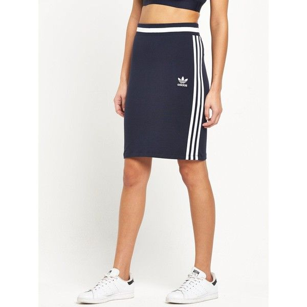 Adidas Originals 3 Stripes London Midi Skirt ($33) ❤ liked on Polyvore featuring skirts, sporty skirts, stripe midi skirt, white knee length skirt, adidas originals and white midi skirt