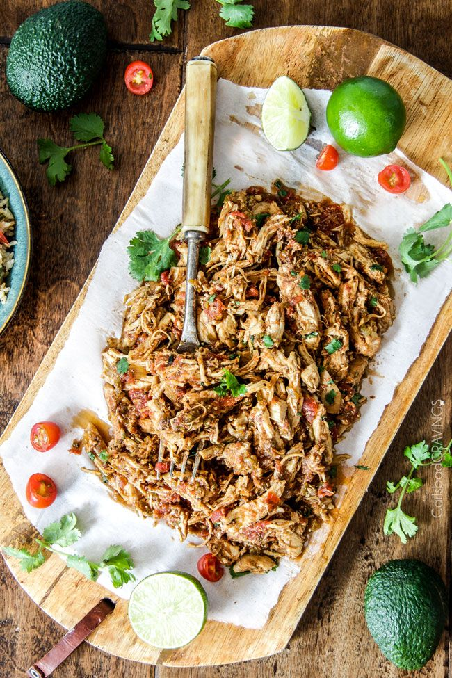 Easy Slow Cooker Shredded Mexican Chicken | http://www.carlsbadcravings.com/easy-slow-cooker-shredded-mexican-chicken-recipe/