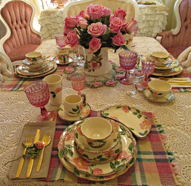 Desert Rose Tablescape at Penny's Vintage Home
