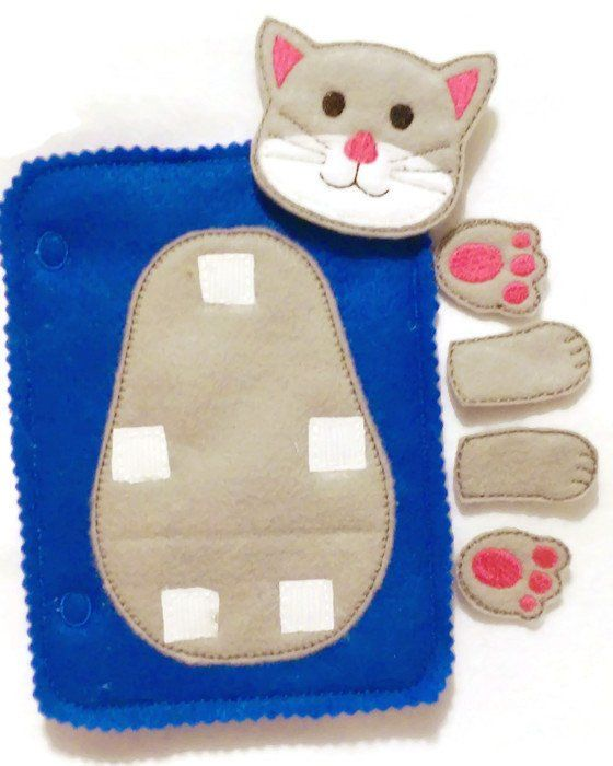 Build a cat add on quiet book page. children can learn head, feet, and arms. Buy more than one page and mix the pieces up. These pages are wonderful to keep chi