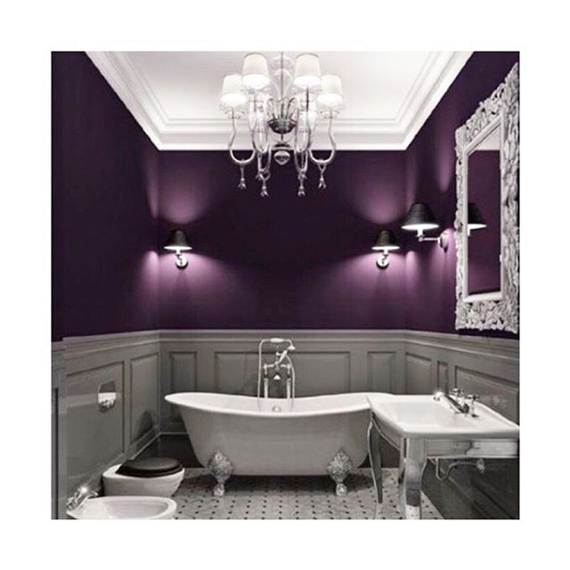 Not all bathrooms have to be white. A deep rich purple can be an option. #interiordesign #inspiration #friday #purple #bathroom #tiles #colourtheme #instagood