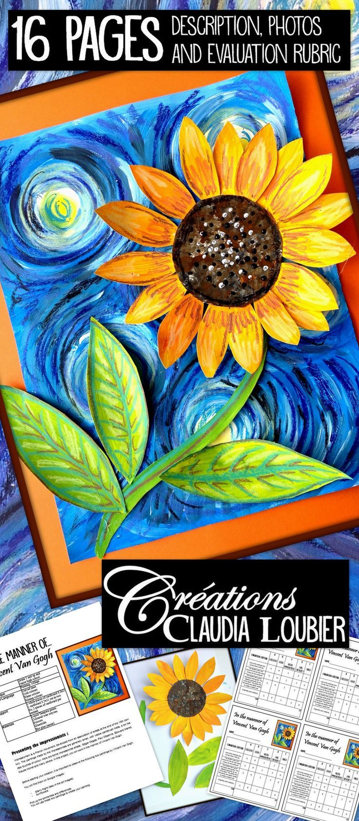 This project helps you discover two different paintings by Vincent Van Gogh: ''Starry Night'' and ''Sunflowers''. Create your own unique painting, working in the same manner as the impressionist artists. The mixing of colours, curved lines, and cold and warm colours will be addressed. You will need liquid Tempera paints, white cardboard and wax crayons. Welcome the spring with this 'sunny' project. Instructions, photos and evaluation rubric are included.