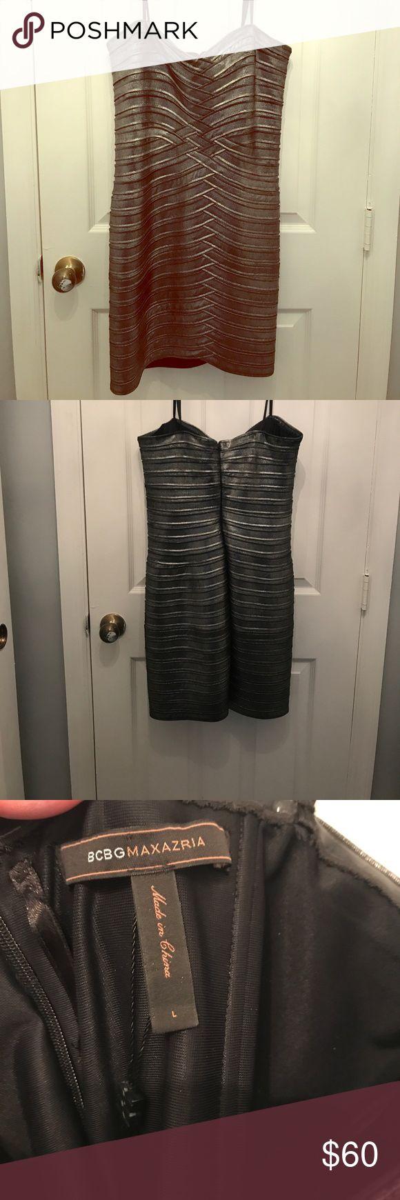 BCBG Silver Cocktail Dress Sexy silver mini dress! EXCELLENT condition!!! Super stretchy. BCBGMaxAzria Dresses Mini