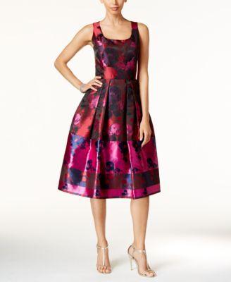 Ivanka Trump Floral Print Fit & Flare Dress | macys.com