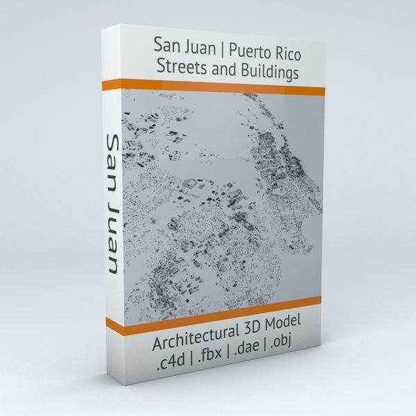 San Juan in Puerto Rico Streets and Buildings Architectural 3D Model