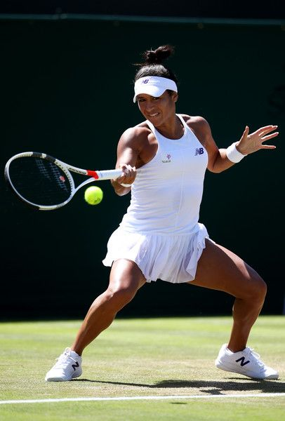 Heather Watson of Great Britain plays a forehand during the Ladies Singles second round match against Anastasija Sevastova of Latvia on day three of the Wimbledon Lawn Tennis Championships at the All England Lawn Tennis and Croquet Club on July 5, 2017 in London, England.