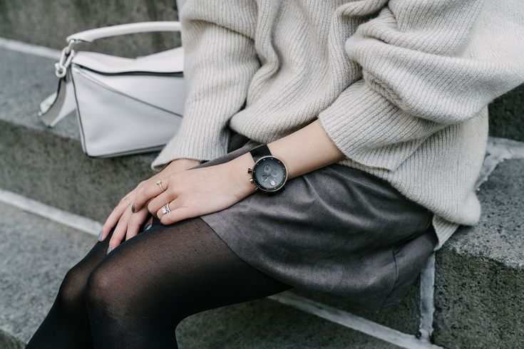 Movado Watch,The Row Sweater,Aritzia Skirt,Yvonne Koné Boots,Loewe Bag,Janessa Leone Hat,Fendi Sunglasses,Kat Kim New York Rings via @eggcanvas