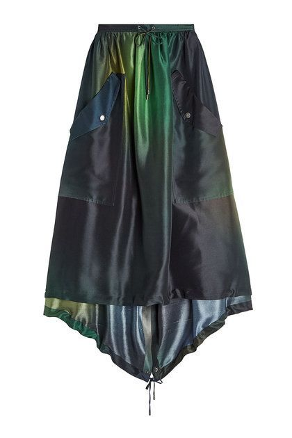 KENZO - Green, Yellow & Blue Silk Skirt with Asymmetric Hem