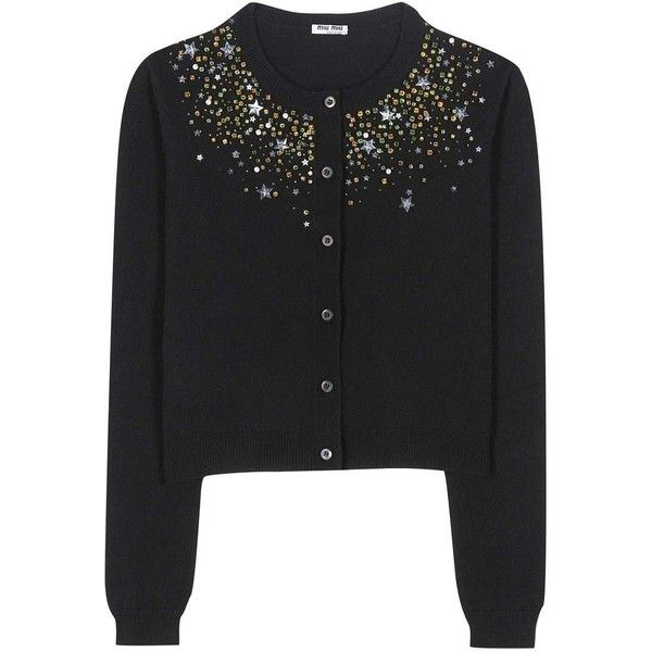 Miu Miu Embellished Cashmere Cardigan (21.106.550 IDR) ❤ liked on Polyvore featuring tops, cardigans, black, embellished cashmere cardigan, embellished tops, miu miu, cashmere cardigans and embellished cardigans