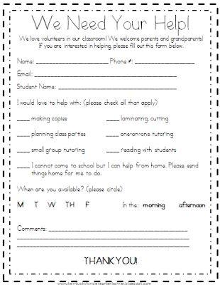 Room Parent Volunteer Form PTA Pinterest Parent volunteer - speaker feedback form