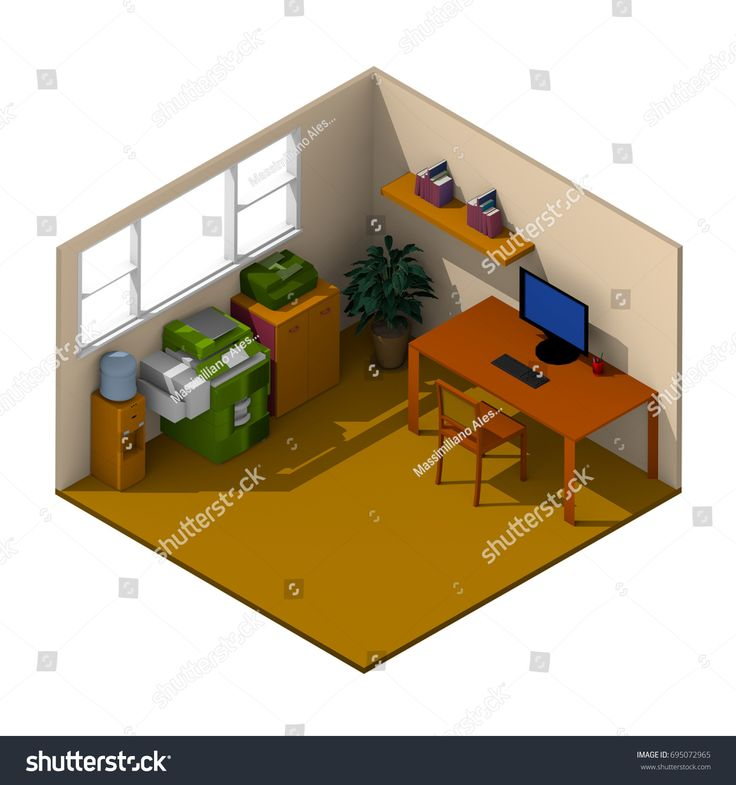 #Colored #3d #interior #isometric #rendering of #furnished #office