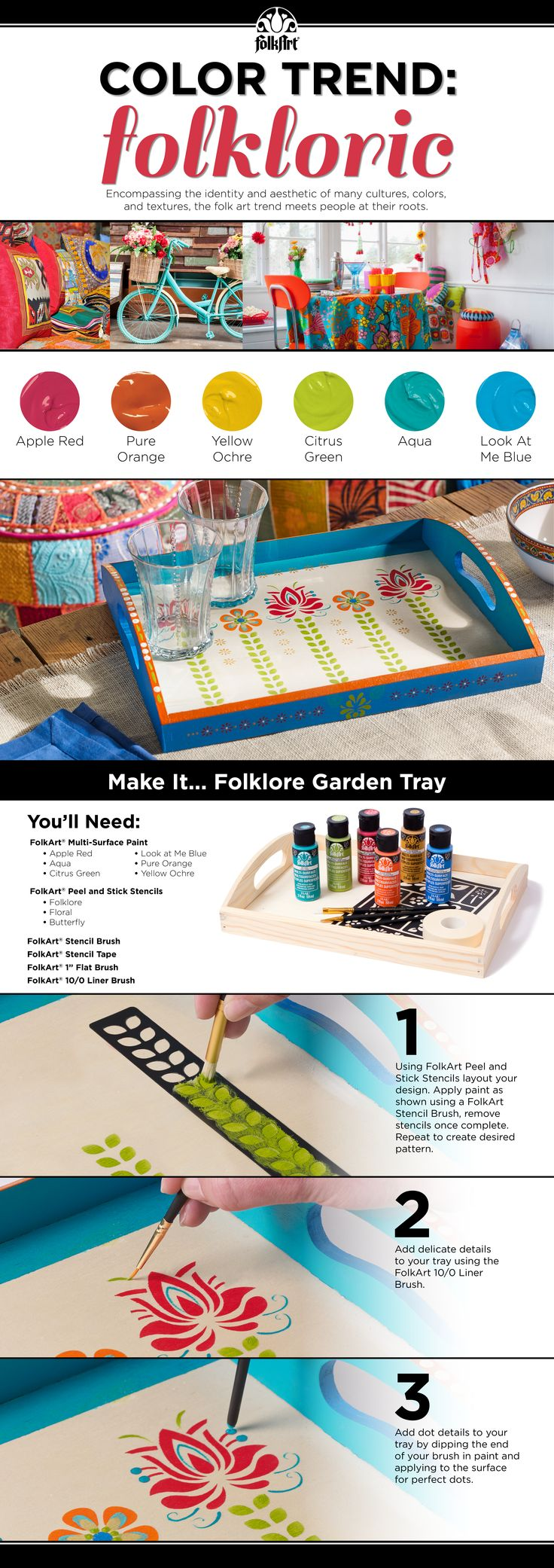 So fun! Love this globally-inspired and richly-hued color palette inspired by the #folkloric trend to #DIY this garden tray #folkart #colortrend #plaidcrafts