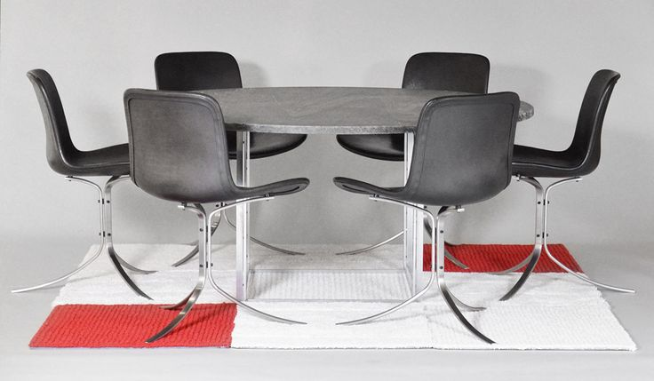 """Poul Kjærholm #PK54 #PK9 Poul Kjærholm (1929-1980). A dining table and chair set. """"PK-54"""". Round dining table with cube-formed matt chromed-plated steel frame. Flint-rolled Chipollino marble plate. Manufactured and stamped by E. Kold Christensen. Poul Kjærholm (1929-1980). PK-9. A set of six chairs with steel frame. Shall formed seat and back upholstered in elegant black leather. Manufactured in 1996 at Fritz Hansen. #PoulKjærholm"""
