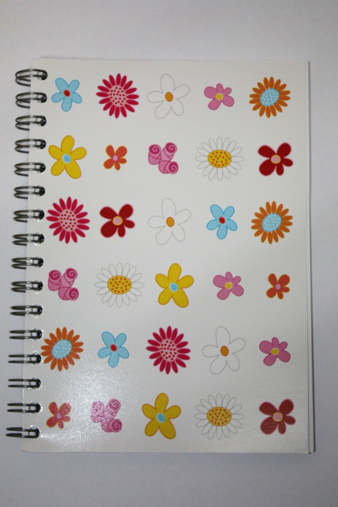 A5 WIRO NOTE BOOK PAD - FLOWERS NOTEBOOK LINED PAPER **NEW**