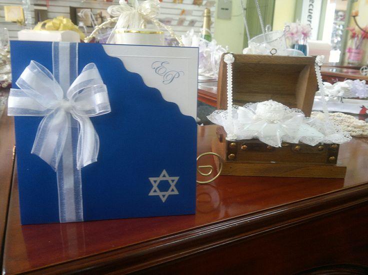 Invitación para boda judia, en tonalidades azul y plata ...