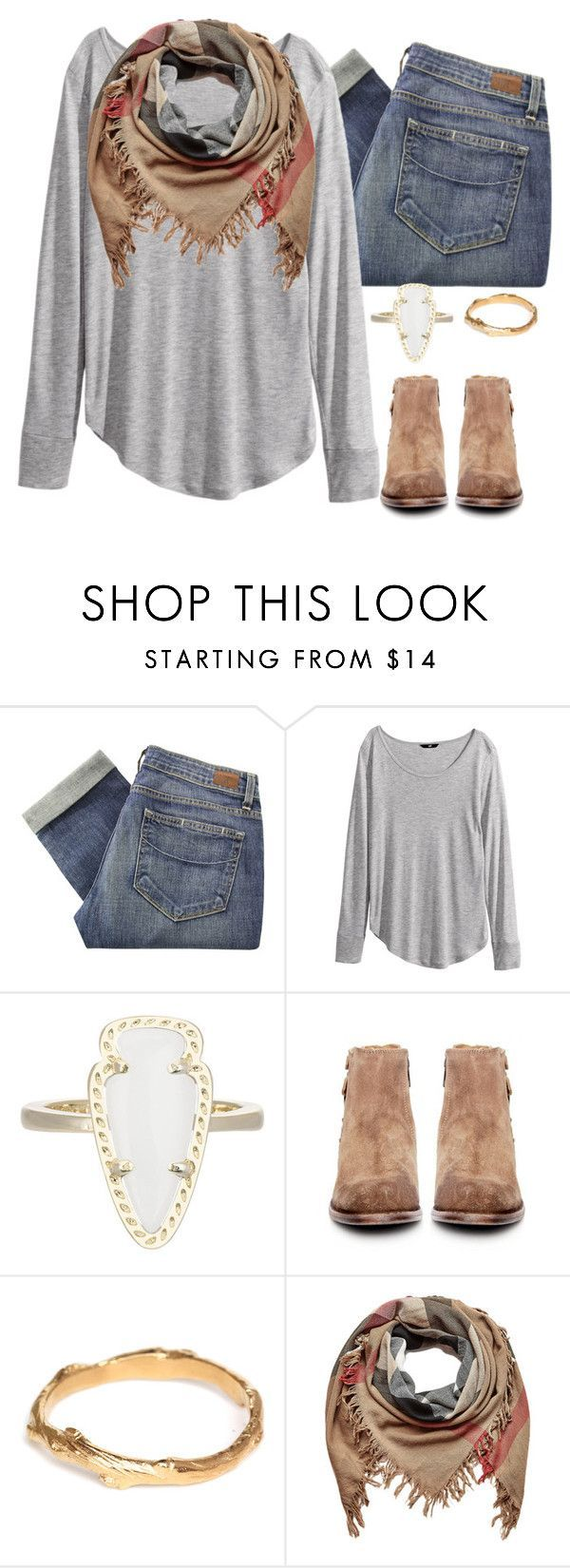 """Do you believe me when I say I ❤️ you more, baby?"" by texas-preppy ❤ liked on Polyvore featuring Paige Denim, H&M, Kendra Scott, H by Hudson, Chupi, Burberry, women's clothing, women's fashion, women and female"