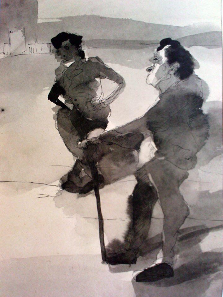 Nasrin CHARKHAT - 13 * 25 cm - Ink on cardboard - 2006