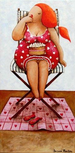 14112 Delicious 30x50. Een schilderij van Susan Ruiter Schilderijen Dikke dames