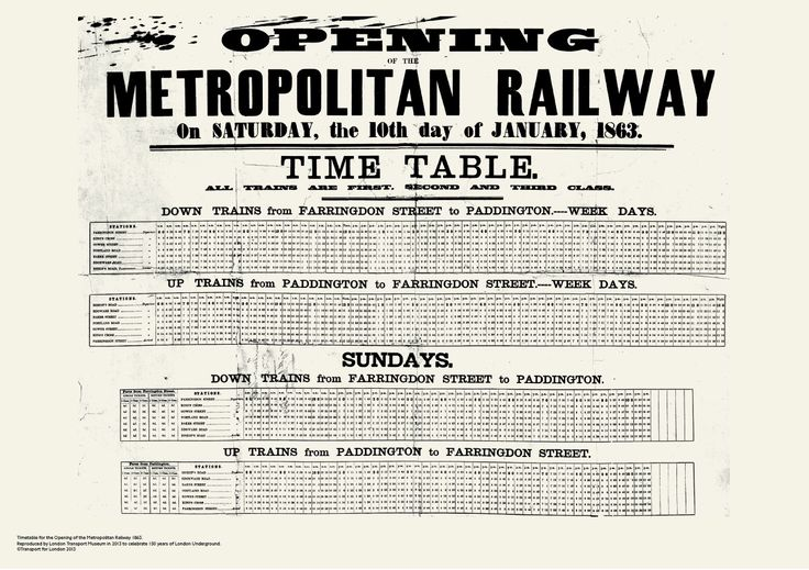 Celebrating 150 years of the London Underground. 1863 Opening Met Railway Timetable Poster available to buy exclusively at London Transport Museum.
