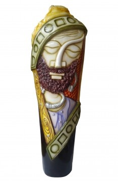 Sleeping man on a vase. A perfect representation of masculine beauty and calm on a sculpted canvas of resin and fiber.