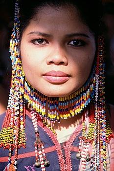 Philippines, Manilla dancer in ethnic costume.