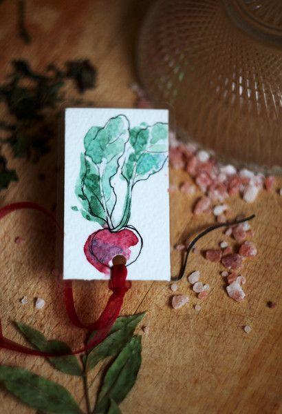 Paper & Card – Sir Raddish – Handmade bookmark – a unique product by virydi_art on DaWanda