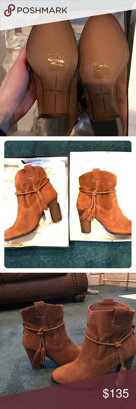 NIB Dolce Vira MELAH Bootie 7.5 SUEDE I love Dolce Vita & their booties are amazing. They're comfortable and very stylish. These are no exception! The style is 'Melah' and they're new, never worn. They're chestnut suede and slip on. Please note these are priced considerably lower than what I paid just 2 months ago, I DO NOT ACCEPT TRADES... & I don't work outside Posh. If you want to make an offer, simply use the offer option. I will be listing a lot of great things within the next few days…