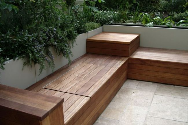 Build Corner Storage Bench Seat Woodworking Plans Amp Project Outdoor Storage Benches Gardenbench Garden Bench Seating Built In Garden Seating Diy Patio Bench