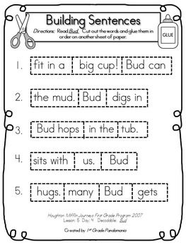 journeys 1st grade building sentences with decodables for hmh lessons 1 10 reading instruction. Black Bedroom Furniture Sets. Home Design Ideas