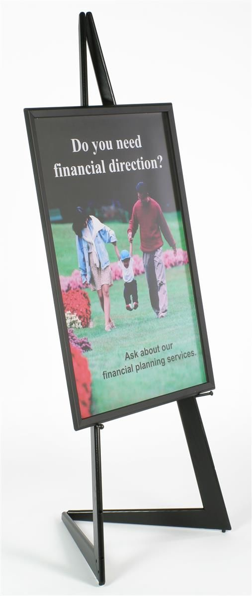 24 X 36 Poster Frame With Bifold Floor Easel, Height Adjustable Display  Pegs   Black