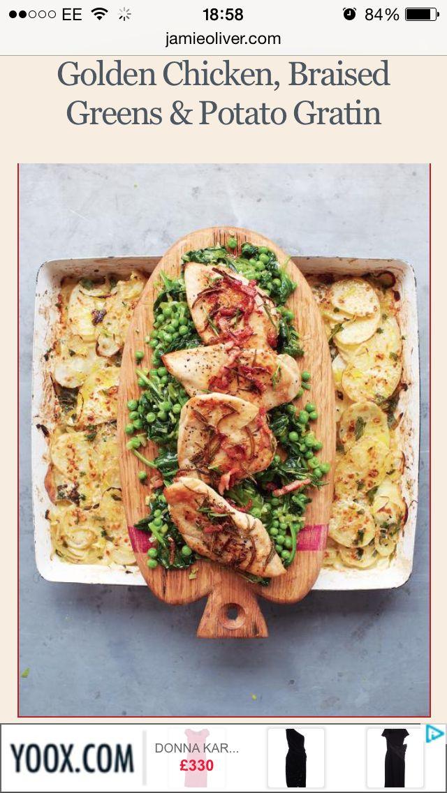 Jamie's Golden chicken, braised greens & potato gratin