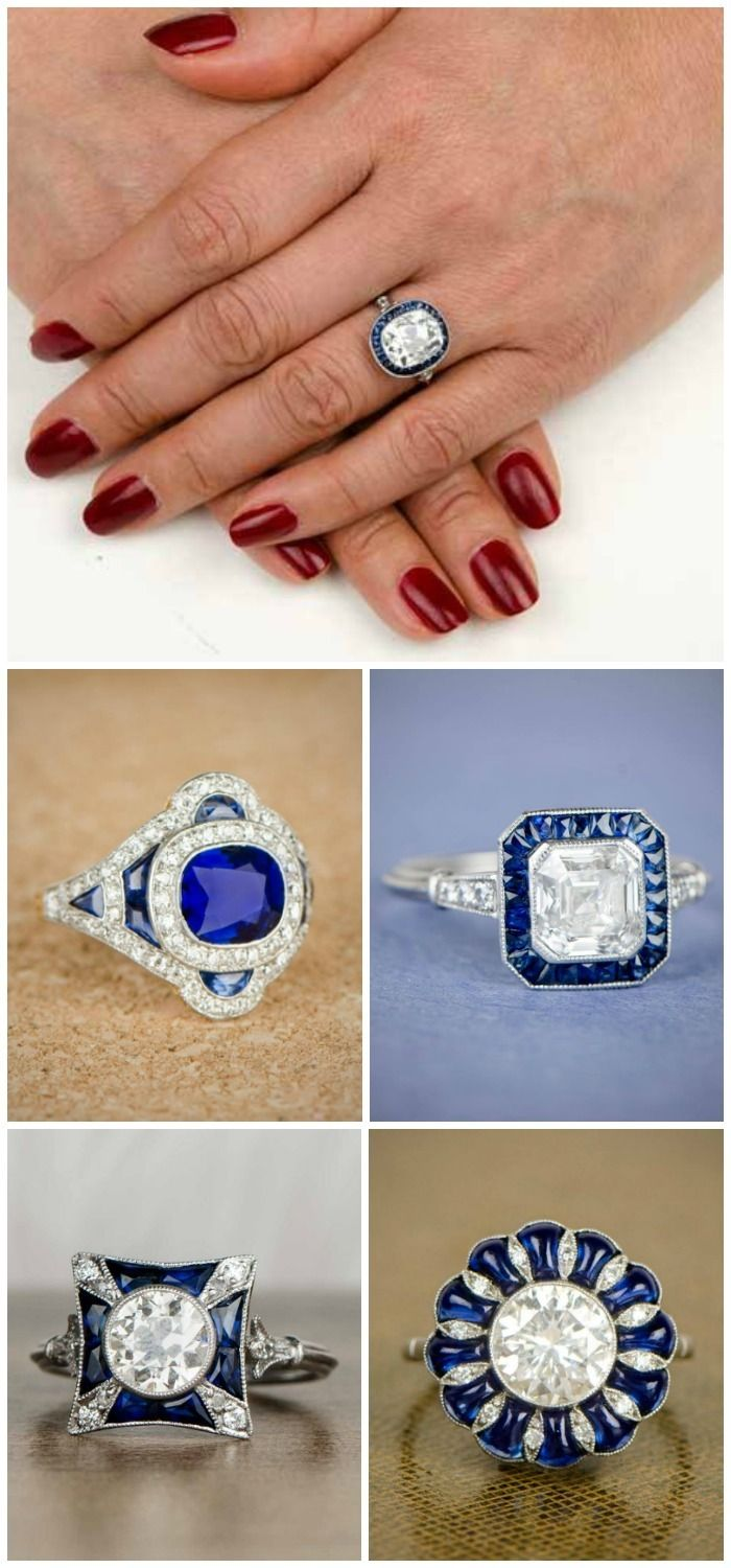 Beautiful engagement rings featuring sapphires, from Estate Diamond Jewelry.