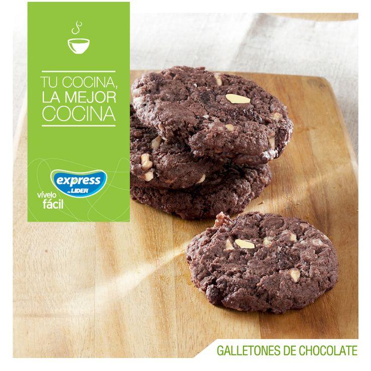 Galletones de chocolate  #Receta #Recetario #RecetarioExpress #ExpressdeLider #Chocolate #Galletas #Galletones
