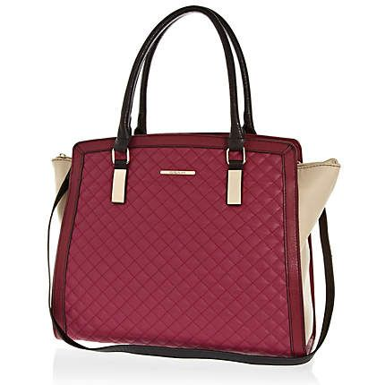 Dark red quilted panelled tote bag - shopper / tote bags - bags / purses - women