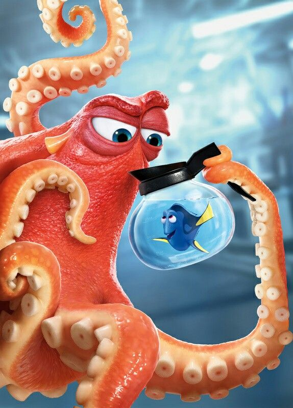 Finding Dory♡ Dory and Hank the septopus. (Ya know, because he lost a tentacle) Haha:)