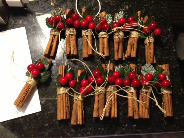 Cinnamon Stick ornaments for my Live Christmas tree