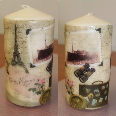 Espelma decorada amb tovallò / Vela decorada con servilleta