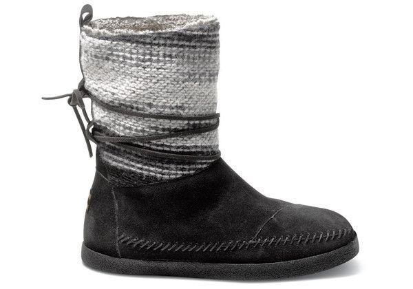 TOMS Gestreepte Zwart Wollen Nepal Laarzen | Supergoods Ecodesign & Fair Fashion