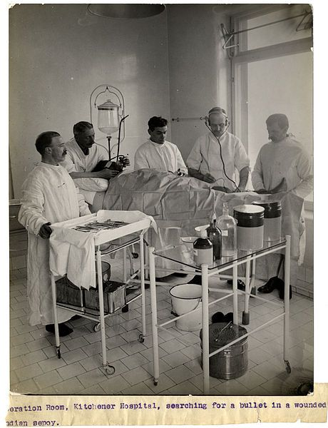 Operation Room, Kitchener Hospital (Brighton) Searching for a Bullet in a Wounded Indian Sepoy -1915