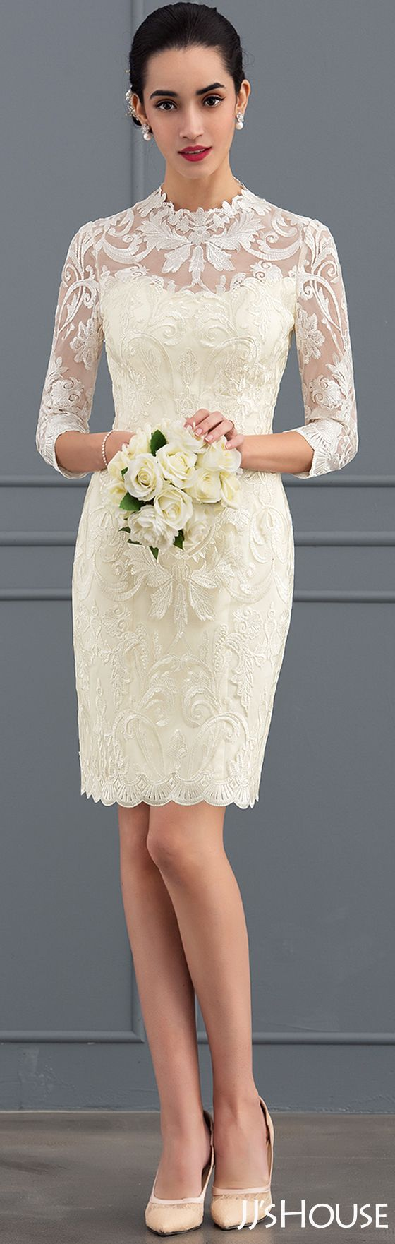 This sheath wedding dress is excellent! #JJsHouse #Wedding