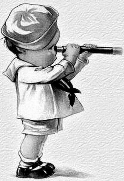 Retro image of boy sailor