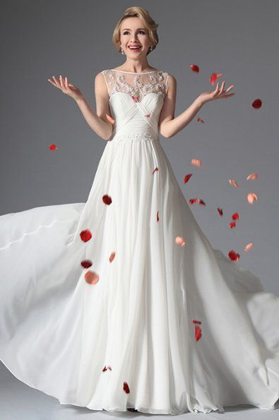 Dlouhé svatební retro šaty bez rukávů