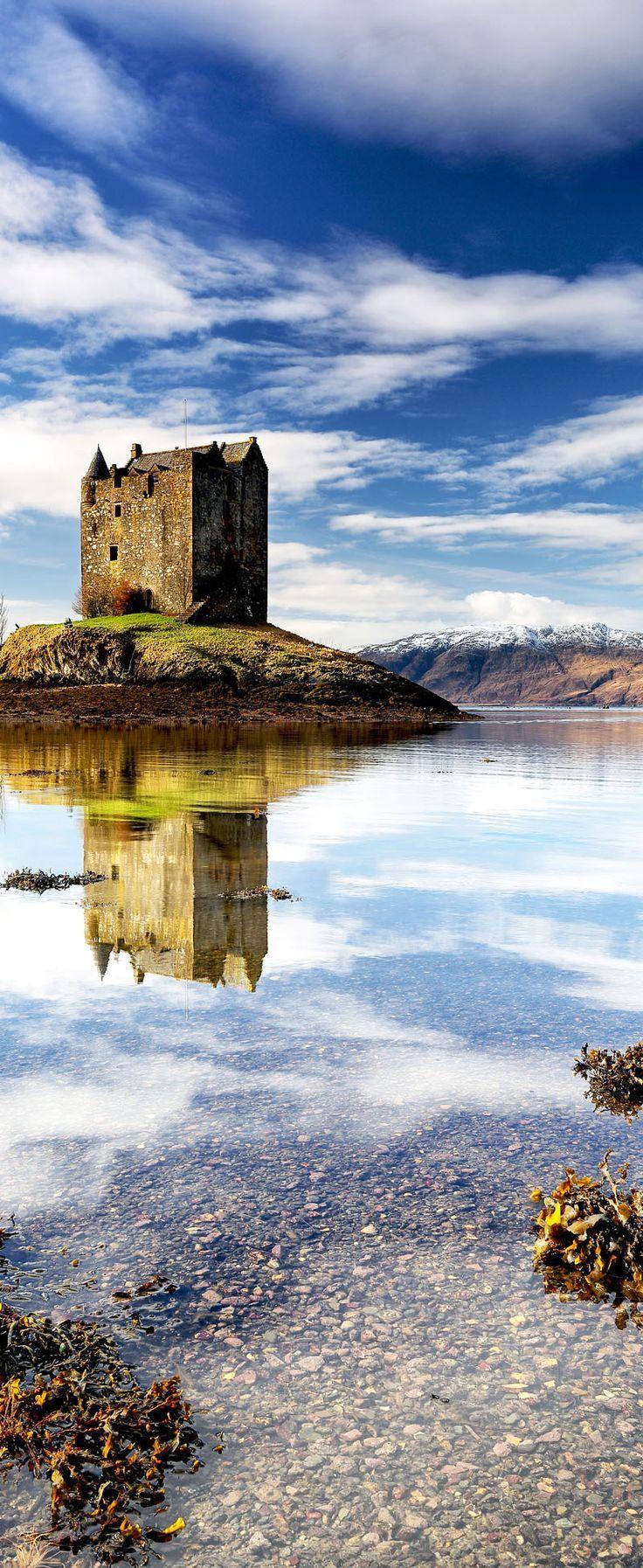 Beautiful Castle Stalker, Loch Linnhe in the west coast of Scotland