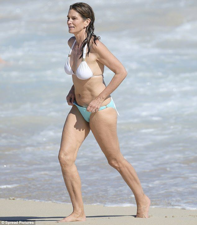 Showstopper: On Friday, Cindy Crawford showed off her figure in a two piece bikini while on holiday in St. Barts