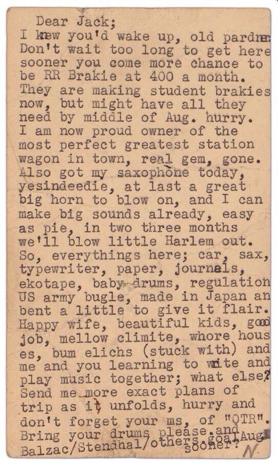 Postcard sent from Neal Cassady to Jack Kerouac, 16 July 1951