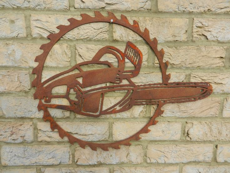 Chainsaw Circular Saw Blade Art / Rusty Metal Garden Art / Chainsaw Gift /  Garden Decor / Rusty Metal Chainsaw / Garden Wall Art / Metal Art