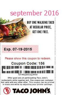 Free Printable Coupons: Taco Johns Coupons