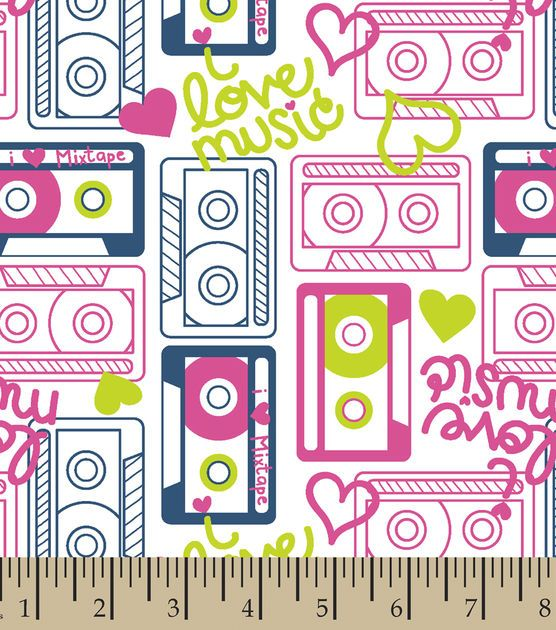 Snuggle Flannel Fabric- Cassettes
