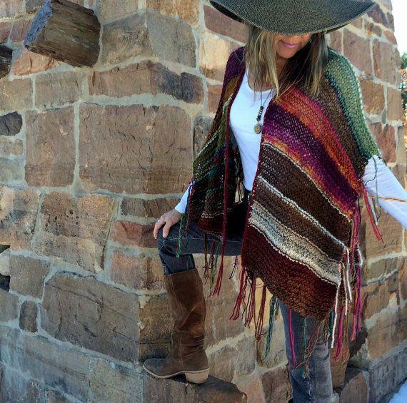 "Hip Length Knitted Womens Bohemian Festival Hippie Beach Poncho Cape Shawl (""For Paullisa"")"