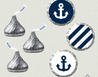 Printable Hershey Kiss Labels, Wedding Kiss Stickers, Navy and Coral, Blue and Gold Wedding, Anchor Wedding Kiss Favor,Nautical Wedding Kiss  Perfect for a nautical wedding   PDF File- ~ Prints 108 per page ~ Customized Initials, Name, & Date ~ Formatted to print on 8 1/2 x 11 pages ~ For best results I recommend printing on full page sticker sheets and punching out with a .75 circle punch. {THESE WILL FIT THE PRECUT LABELS, BUT DONT ALWAYS LINE UP} I cannot trouble shoot issues with...